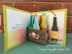 Kris Kilkenny: My Inky Friends Stampin& Up! Masculine Birthday Cards, Birthday Cards For Men, Fancy Fold Cards, Folded Cards, Tarjetas Pop Up, Pop Up Box Cards, Birthday Scrapbook, Fathers Day Cards, Diy Cards