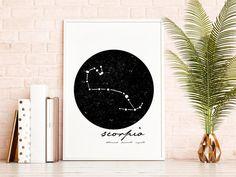 Scorpio Wall Art Constellation Print, Black and White Celestial Art Wall Art Sets, Large Wall Art, Wall Art Prints, White Art, Black And White, White Wall Decor, Name Art, Scandinavian Art, Poster Wall