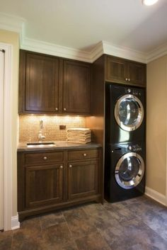 Laundry room   Stacked washer  dryer