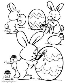 easter coloring pages bunnies painting eggs