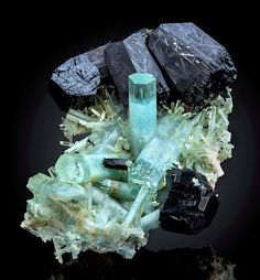Minerals, Crystals & Fossils — Aquamarine and Schorl - Erongo Mountain, Erongo. Cool Rocks, Beautiful Rocks, Minerals And Gemstones, Rocks And Minerals, Natural Crystals, Stones And Crystals, Gem Stones, Mineral Stone, Rocks And Gems