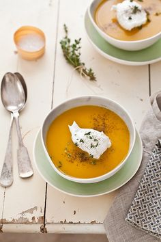 Acorn Squash & Sweet Potato Soup. Top with a dollop of 2% Plain Chobani!