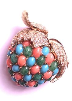 CINER faux turquoise and faux coral apple pin brooch from ovallegra on Ruby Lane