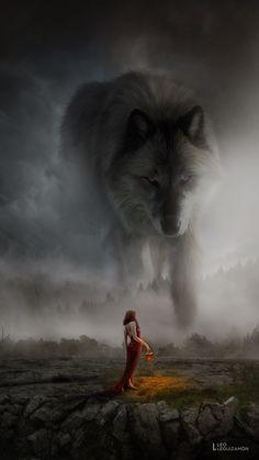 Girl asks great wolf spirit for her tribe/family/village/household will prosper? Plants will grow? Fantasy Wolf, Dark Fantasy Art, Fantasy Artwork, Wolf Spirit, Spirit Animal, Wolves And Women, Giant Animals, Wolf Artwork, Werewolf Art