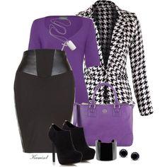 Love the purple! Diva Fashion, Trendy Fashion, Fashion Sets, Womens Fashion, Classy Outfits, Stylish Outfits, Fashion Outfits, Purple Outfits, Colourful Outfits