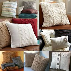 Crochet pillow cable old sweater ideas Sweater Pillow, Old Sweater, Crochet Pillow, Knitting Projects, Knitting Patterns, Sewing Projects, Knitted Cushions, Knitted Blankets, Cushion Covers
