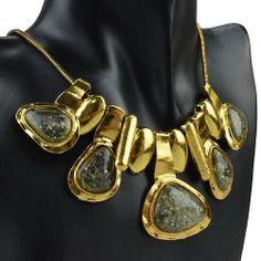 Huge Vintage Smoky Gold Plated Irregular Resin Statement Bib Necklace GC129K