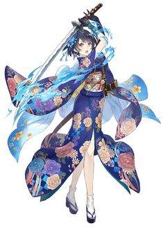 View an image titled 'Alice, Kimono Job Art' in our SINoALICE art gallery featuring official character designs, concept art, and promo pictures. Female Character Design, Character Design Inspiration, Character Art, Chibi, Chica Anime Manga, Manga Girl, Kawaii Anime Girl, Anime Art Girl, Manga Katana