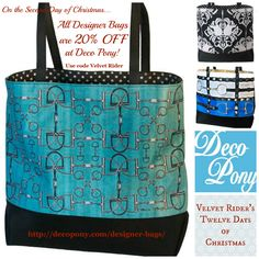 On the Second Day of Christmas, Velvet Rider brought to me...Deco Pony! Enjoy 20% off the perfect equestrian bag this holiday season with promo code Velvet Rider!
