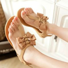 Latest Comfortable flat ribbon bow  Flat Sandals (Apricot,white) Flat Sandals from stylishplus.com