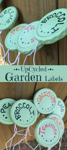 Twitchetts: Up-cycled Garden Labels. Recycled jar Lids Label your fruits, veggies, and herbs with these cute upcycled garden labels. Recycled Jars, Recycled Garden, Diy Garden, Garden Ideas, Recycled Kitchen, Garden Whimsy, Garden Junk, Garden Club, Garden Trellis