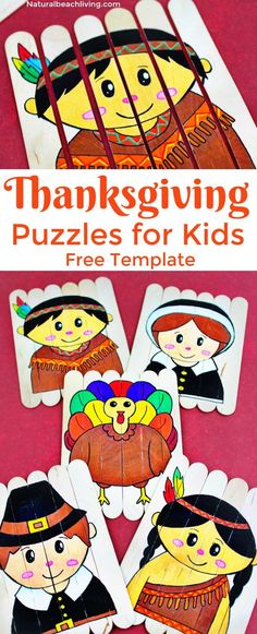 The Best Thanksgiving Preschool Activities, DIY Thanksgiving Puzzles with Free Printable Template, Thanksgiving Crafts, Make a Turkey, Pilgrims, Native American Indian Crafts for kids, Fun Popsicle stick craft, #Thanksgiving #Thanksgivingcrafts #preschool