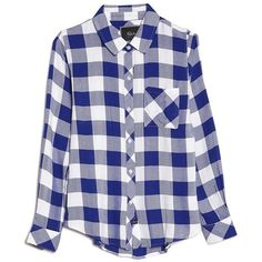 Rails Hunter One Pocket Flannel Top ($138) ❤ liked on Polyvore featuring tops, long sleeve tops, white tops, pocket tops, checkered top and flannel tops