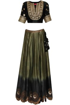 Black and olive green ombre embroidered lehenga set available only at Pernia's Pop Up Shop. Indian Gowns, Indian Attire, Indian Ethnic Wear, Indian Outfits, Sharara Designs, Saree Blouse Designs, Salwar Kameez, Black Lehenga, Desi Wedding Dresses