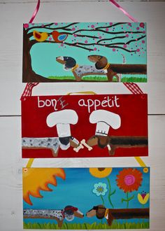 Dachshund Door Decorations set of 3 Reserve for by MaxMinnieandMe, $40.00