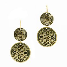 Enamel jewelry is hot, hot, hot - from bangles to dangles. These double-disc drop earrings feature an intricate pattern in gold against a royal blue enamel background. Royal blue and gold are classic together.   $22.00  #gold #boho #jewelry