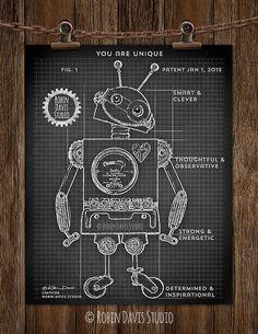 Dark blue robot blueprint robot 8x10 art print by moderngenes robot blueprint 8x10 exclusive robot patent by robindavisstudio malvernweather Images