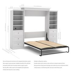 """Bestar Audrea Queen Wall Bed in White with two 25"""" Storage Units with Drawers"""