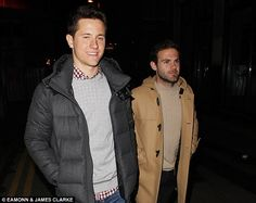 Ander Herrera and Juan Mata off duty in Manchester to celebrate their latest win.