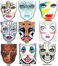 Creative makeup ideas you can use for Halloween with Mac Face Charts. With Halloween only a few days away, I … Ideas Maquillaje Halloween, Maquillage Halloween, Mac Face Charts, Makeup Face Charts, Halloween Karneval, Character Makeup, Makeup Designs, Makeup Ideas, Artistic Make Up