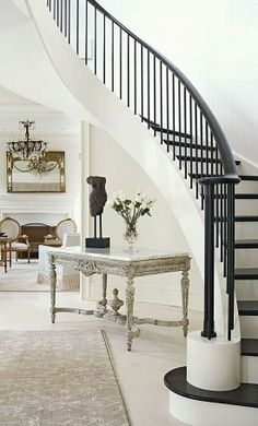 I love the black and white staircase, it looks very classic and clean