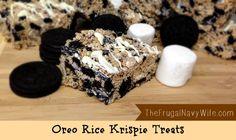 Oreo Rice Krispie Treats. The perfect Potluck dessert, you will never have leftovers! #oreo #recipe #dessert #ricekrispie