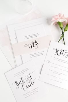 Watercolor Calligraphy Wedding Invitations in Light Pink.  Click through for ordering details and a free sample set!