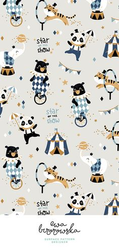Add a pop of pattern with unique fabric, wallpaper gift wrap. Shop over designs Circus Illustration, Brain Illustration, Elephant Illustration, Cute Animal Illustration, Pattern Illustrations, Animal Illustrations, Character Illustration, Nursery Patterns, Kids Patterns
