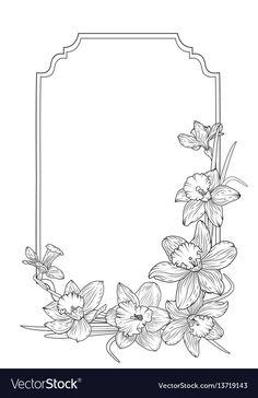 Narcissus daffodils spring floral border frame vector image on VectorStock Frame Border Design, Page Borders Design, Bullet Journal Ideas Pages, Bullet Journal Inspiration, Frise Art, Molduras Vintage, Narcissus Flower, Art Nouveau Pattern, Cartoon Flowers