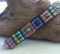 Modern Bright Handloomed Bracelet with Sterling by shopbellabeads, $64.00