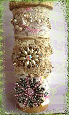 Fabric cuffs with vintage pins and lace. by LjBlock Designs