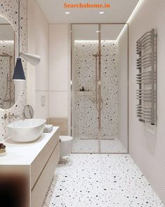 How fun is this bathroom design, with gold hardware and modern lighting! Perfect for a girls bathroom! How fun is this bathroom design, with gold hardware and modern lighting! Perfect for a girls bathroom! Modern Small Bathrooms, Dream Bathrooms, Beautiful Bathrooms, Girl Bathrooms, Master Bathrooms, Bathroom Small, Simple Bathroom, Cool Bathroom Ideas, Small Bathroom Designs