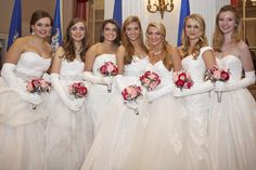 Visions in white - MacKenzie Nix, Carolyn Schnackenberg, Chase Hughes, Caroline Granruth, Nicole Fischer, Courtney Fischer, and Catherine Bradley at the International Debutante Ball at the Waldorf-Astoria in NYC.