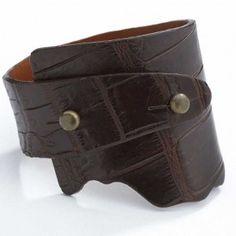 Alligator Genuine Wide Wrap Luxury Leather Bracelet - Dark Brown Color