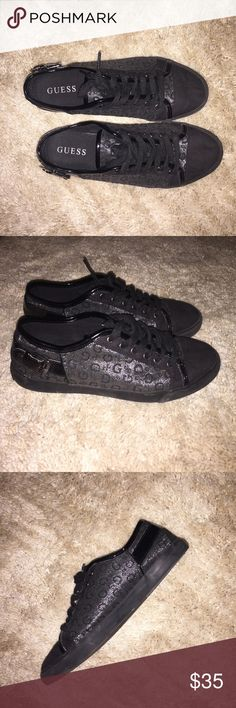 Guess Sneakers Low-top sneakers, with GUESS symbol detailing on both sides of the sneaker. Has a buckle on the side pointing out. Slightly worn. Purchased from GUESS Factory Outlet. Feel free to ask questions! Guess Shoes Sneakers
