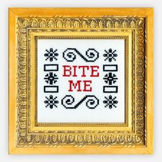 {Bite Me Cross-Stitch Kit} Subversive Cross Stitch I loved this kit, I made it a year and a half ago after a friend gave it to me. <3