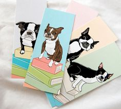 Boston Terrier Bookmarks  Ecofriendly Set of 5 by AfricanGrey, $6.50
