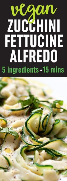 """Zucchini Fettuccine with Creamy White Bean """"Alfredo"""" Sauce recipe - A revelation! The rich and creamy sauce - made with only white beans, garlic, almond milk, a drizzle of olive oil plus salt and pepper - perfectly coats tender-to-the-bite zucchini ribbons. Only 5 ingredients and 15 minutes for this hearty and healthy gluten-free and vegan dinner."""