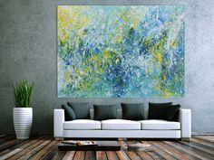 Abstraktes Acrylbild in türkis und hellblau sehr modern 150x200cm von xxl-art.de