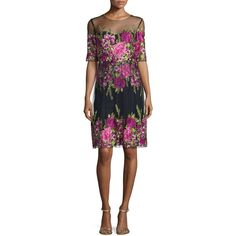 Marchesa Notte Half-Sleeve Floral-Embroidered Popover Dress ($965) ❤ liked on Polyvore featuring dresses, black, notte by marchesa, mesh dress, sweetheart mesh dress, notte by marchesa dresses and sweet heart dress