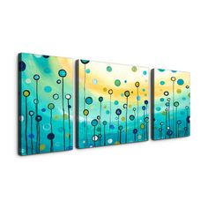 Megan Aroon Duncanson 'Lollipop Field' Textured Canvas Art Print Triptych | Overstock™ Shopping - Top Rated Canvas