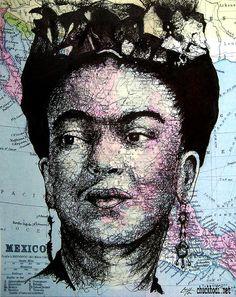 "Print 8x10"" - Frida Kahlo - Surreal Artist Mexico Hispanic Mexican Pop Art Salvador Dali Women Map Pop Art Fantasy Lowbrow"