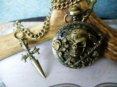 Collar De Calavera Y Huesos Cruzados Magic Ojo Colgante Gótico stempunk Bronce Bolsa De Regalo