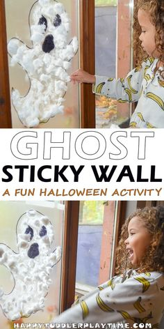 Halloween Ghost Sticky Wall - HAPPY TODDLER PLAYTIME Here is a fun and easy Halloween activity using contact paper. Ghost Sticky Wall is fun for toddlers, preschoolers and big kids! Halloween Activities For Toddlers, Halloween Crafts For Toddlers, Easy Halloween, Halloween Themes, Halloween Party, Halloween Projects, Toddler Activities, Fall Toddler Crafts, Infant Halloween