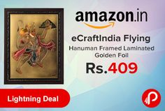Amazon #LightningDeal is offering 69% off on eCraftIndia Flying Hanuman Framed Laminated Golden Foil Just at Rs.409. One Framed Laminated Golden Foil, Product Size (LxWxH) – 11″ x 0.5″ x 15″, Material – Gold Foil ; Color – Multicolor.   http://www.paisebachaoindia.com/ecraftindia-flying-hanuman-framed-laminated-golden-foil-just-at-rs-409-amazon/