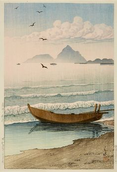 Colour woodblock print entitled Boshu Kamogawa (Kamogawa river, Awa province), depicting a boat on the shore: Japan, by Kawase Hasui, 1934 Japanese Artwork, Japanese Painting, Japanese Prints, Japanese Landscape, Landscape Art, Japanese Illustration, Illustration Art, Illustrations, Art Watercolor