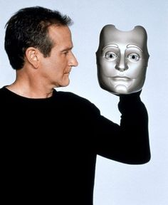 Robin Williams as Andrew Martin, Bicentennial Man Truly LOVE This Movie, He was a Very Fantastic Actor, May he Rest In Place. Robin Williams, Illuminati, Bicentennial Man, Madame Doubtfire, Good Will Hunting, People Laughing, Many Faces, In Loving Memory, Wedding Humor