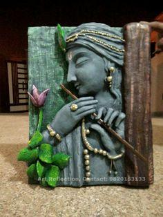 Clay Wall Art, Mural Wall Art, Mural Painting, Murals, Krishna Painting, Krishna Art, Vase Crafts, Clay Crafts, Pottery Painting