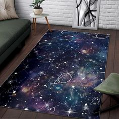 Jul 2019 - Constellation Galaxy Space Print Area Rug – GearFrost Space Themed Nursery, Nursery Room, Boy Room, Galaxy Decor, Galaxy Theme, Bedroom Themes, Bedroom Decor, Outer Space Bedroom, Boys Space Bedroom
