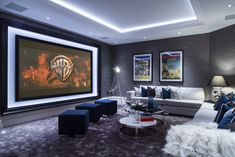 Framed Movie Screen and Lighted Tray Vault Ceiling Take this Already Wonderful Home Theater Room Up a Notch!